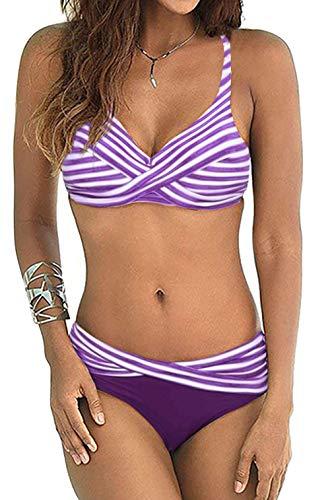tengweng Women's Sexy Striped Padded Push Up Bikini Set Halter Two Piece Swimsuit Swimwear Bathing Suit XL A-Purple
