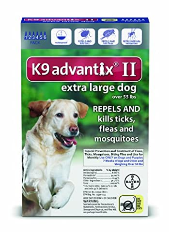 Bayer K9 Advantix II Flea, Tick and Mosquito Prevention for X-Large Dogs, Over 55 lb, 6 doses (Dog Flea Heartworm)