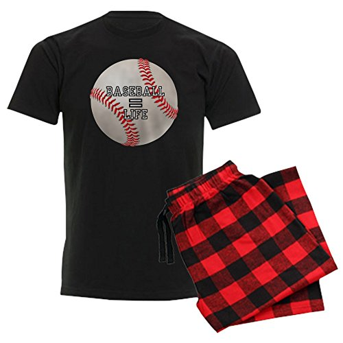 (Royal Lion Men's Dark Pajamas Baseball Equals Life - Red Plaid, Large)
