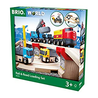 BRIO World 33210 - Rail & Road Loading Set - 32 Piece Wooden Toy Train Set for Kids Age 3 and Up