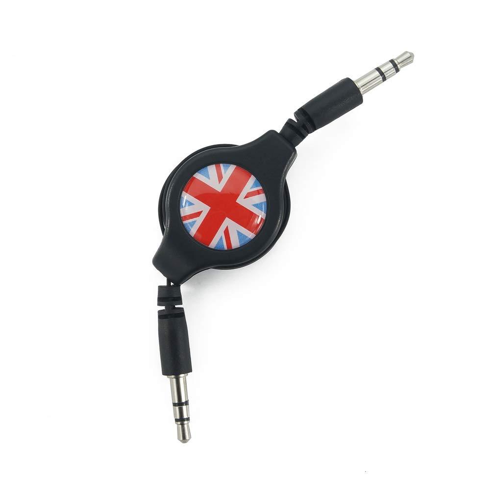 Estilo Heinmo For Mini Cooper Serie F//R para Autos Cable de Audio para Auto de 3.5 mm L/ínea de Audio AUX 80 cm Clubman Countryman Blue and White