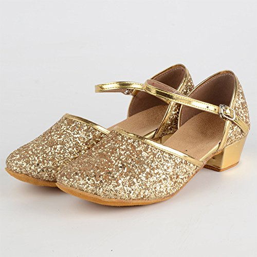 Flache Shoes Damen Tanzschuhe Golden XFentech Stil 24 Schnalle Bevorzugte Dance Mädchen 40 Latin Modern q1vwpt