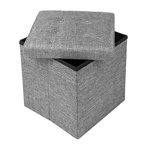 15″ Storage Ottoman Cube 15 inches Folding Bench with Highly Elastic Sponge Filling Linen Fabric Foot Stool Foldable Seat Footrest Gray For Sale