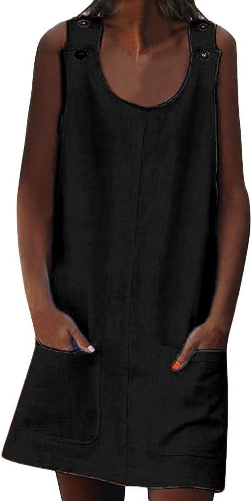 Mujer Verano De Playa Vestido Estampado Vestido De Lino Y AlgodóN Sin Mangas Vestidos De Fiesta para Bodas Talla Grandes Vestidos Playa Mujer Vestidos Casuales Vestido Midi Vestido Verano: Amazon.es: Jardín