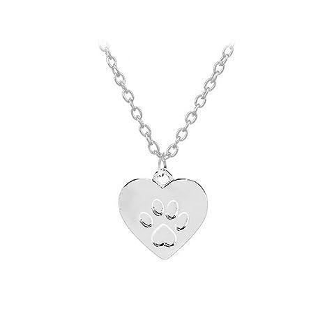 21fe1d0f800a OULII Colgante Collar de Huella de Perro Corazón Joyería para Mujeres  Regalo (Plata)