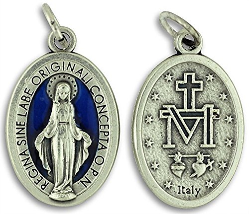 (Bulk Buy 5 Pcs - Miraculous Medal 1 Inch Lot of 5 Medals Blue Enamel Rings Included)