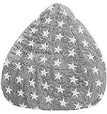 Sitzsack Fluffy STARS L ca. 120 Liter grau (bis ca. 7 Jahre)
