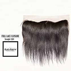 EURO REMY Brazilian Virgin 100% Unprocessed Human Hair Extensions - 13x4 Lace Frontal Closure Free Part - Straight - 10 inches Natural