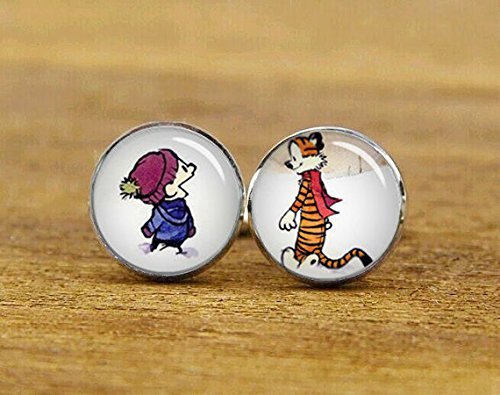 cufflinks, classic cartoon cufflinks, custom cartoon cuff links, best friend, tiger cufflinks print Photo Cufflinks ,Best Gift Christmas - Cufflinks Plated Silver Amethyst