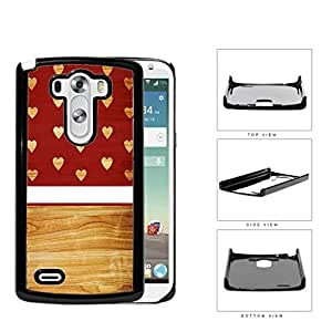 Mini Hearts Cutout On Burgundy And Ash Wood Hard Plastic Snap On Cell Phone Case LG G3