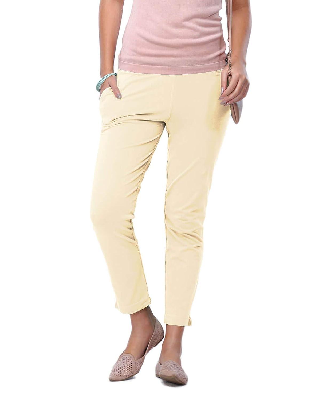 Buy Go Colors Women S Beige Cotton Blend Kurti Pants Cigarette Trouser At Amazon In