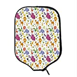 YOLIYANA Cartoon Animal Durable Racket Cover,Love of Nature Theme Children Kids Pattern with Exotic Zoo Comic Characters for Sandbeach,One Size