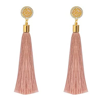 Bohemia Long Tassel Drop Earrings Handmade Gold Tone Fringed Dangle Stud Earring For Women