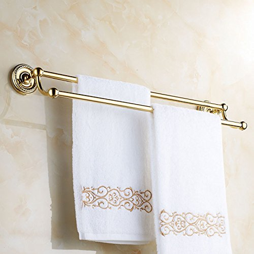 Brass Wall Mounted Bathroom Double Bars Towel Rack for Bathroom Storage, Golden Finish