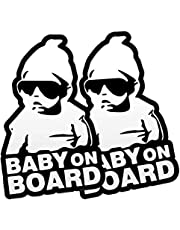 FINENIC 2-Pack Baby on Board Car Sticker Sign Decal, Warning Car Sticker Notice Board with Reflective Light, Black and White Vinyl Decals, Self-Adhesive Baby on Board Stickers for Car Bumper