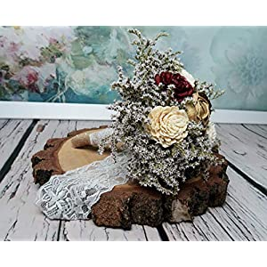 Small Rustic Wedding Bridesmaids Bouquets Made of Ivory and Gold Sola Flowers Burgundy Cedar Roses Dried Limonium Burlap Lace and Pearl Pins 4
