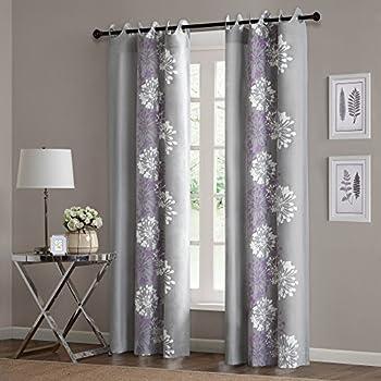 Anaya Cotton Grommet Curtain Single Panel Color Purple Grey