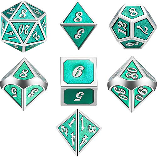TecUnite 7 Die Metal Polyhedral Dice Set DND Role Playing Game Dice Set with Storage Bag for RPG Dungeons and Dragons D&D Math Teaching (Emerald Green) ()