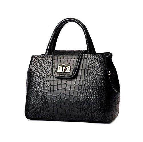 [VVeda New Female Handbag Korean Version High-grade Crocodile Grain Shoulder Handbag(Black)] (Dance Costumes Australia Suppliers)