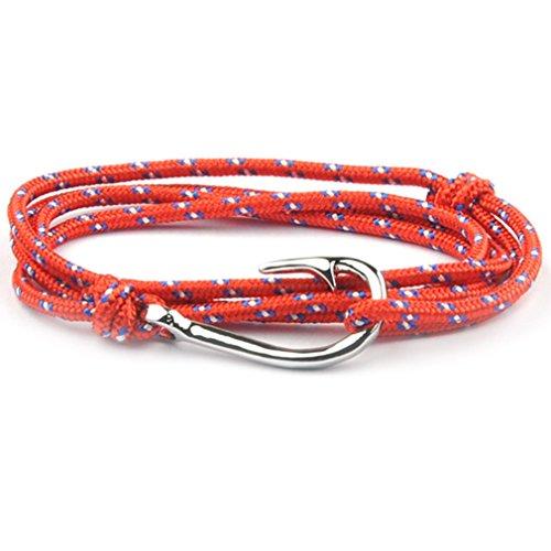 SWEETIE 8 Unisex Men's Women's Silver Fish Hook Rope Wrap Bracelet - Red