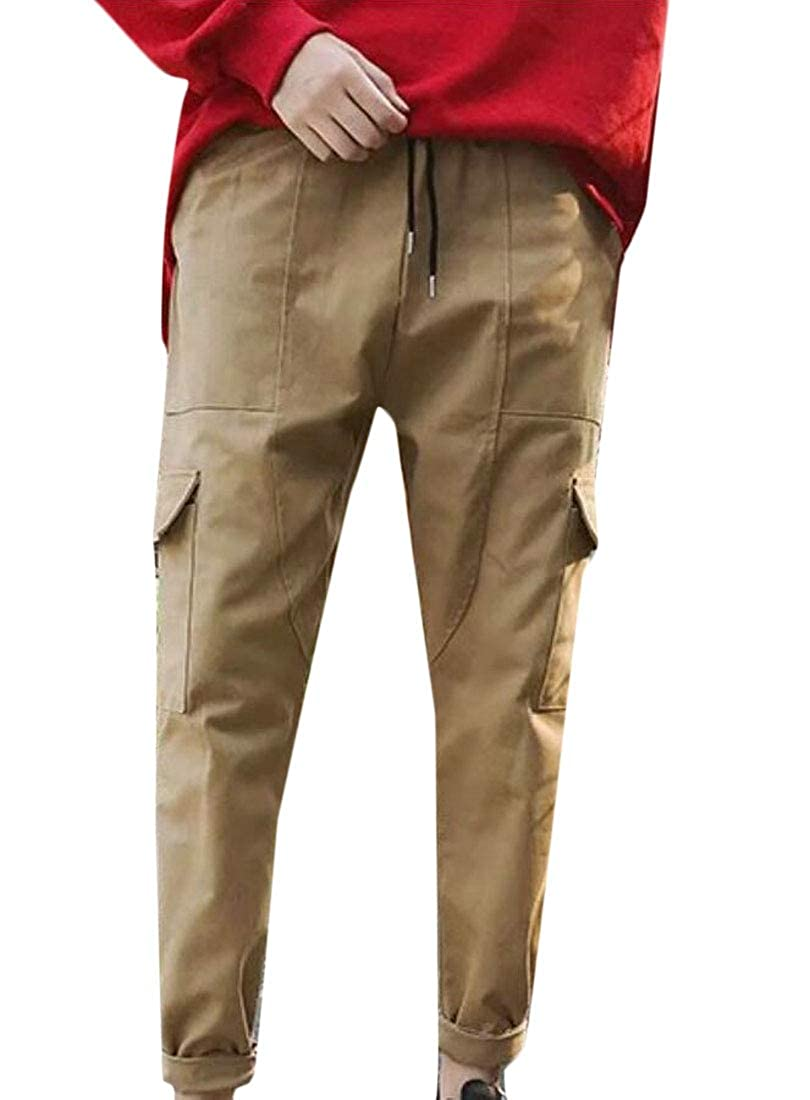 XQS Mens Trousers Sport Pure Color Sweatpants Drawstring Pencil Pants
