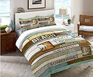 rustic green beach themed bedroom | Amazon.com: Rustic Beach Ocean Coastal Icons Quotes ...