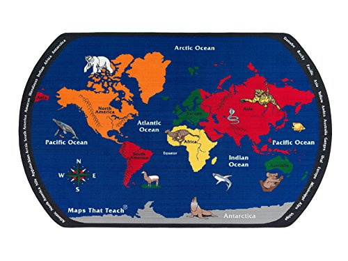 Flagship Carpets FE122-44A Blue Maps That Teach, the Earths Layout At Your Feet Providing A Constant Geography Resource, Children's Classroom Educational, Kids School, 7'6