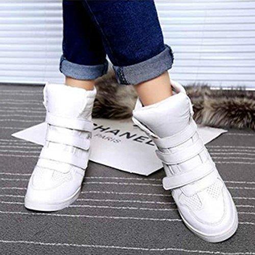 Btrada Haut Haut Femmes Plate-forme Coin Casual Sport Sneaker Augmenté Hauteur Blanc