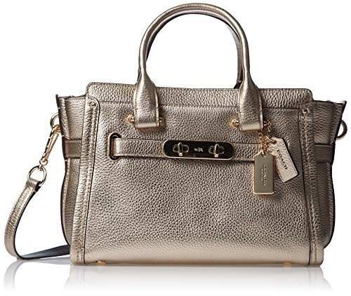 COACH Women's Pebbled Leather Coach Swagger 27 LI/Platinum Satchel by Coach