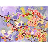 Oopsy daisy cherry blossom birdies lavender and coral stretched canvas wall art by winborg sisters, 24 by 18-inch