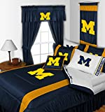 Michigan Wolverines QUEEN Size 14 Pc Bedding Set (Comforter, Sheet Set, 2 Pillow Cases, 2 Shams, Bedskirt, Valance/Drape Set - 84 inch Length & Matching Wall Hanging) - SAVE BIG ON BUNDLING!