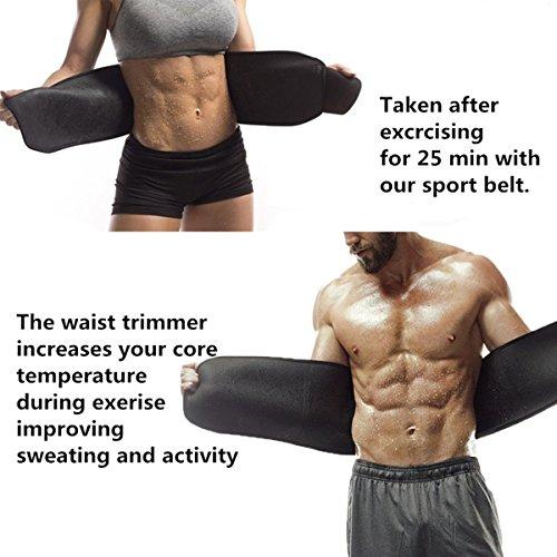Waist Trimmer,Waist Wrap Waist Trimmer for Women Ab Belt Waist Trainer Adjustable Waist Trimmer Belt for Men Sauna Suit to Loose Weight and Keep Fit(Red) by FOISON (Image #4)