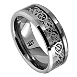 8MM Dragon Design Tungsten Carbide Wedding Band Ring (Available Sizes 5-14 Including Half Sizes) (9)