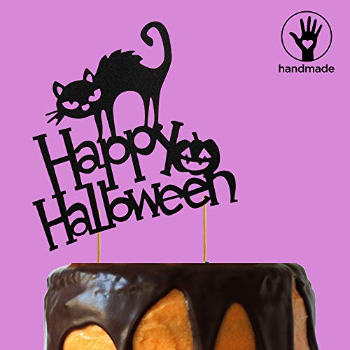 (Happy Halloween Cake Topper Baking Decorations Hallowmas Party Black Cat Design (Happy Halloween)