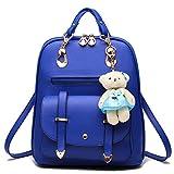 Hynbase Retro Women Fashion Mini PU Leather Shool Bag Casual Backpack Shoulder Bag Light Blue
