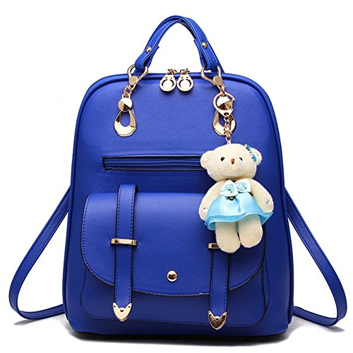 Hynbase Retro Women Fashion Mini PU Leather Shool Bag Casual Backpack Shoulder Bag Light Blue by Hynbase