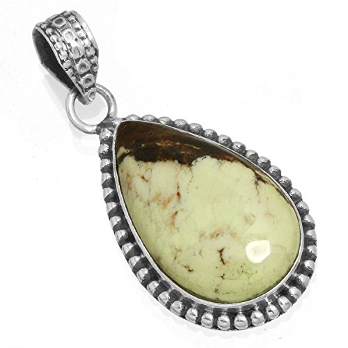 Solid 925 Sterling Silver Pendant Natural Lemon Chrysoprase Gemstone Unique Jewelry