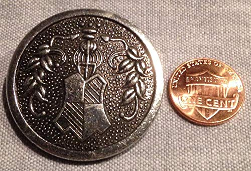 Metalized Plastic Buttons - ONE Large Silver Tone Metalized Plastic Button Crest Heraldic 1 1/2'' 38mm # 7948