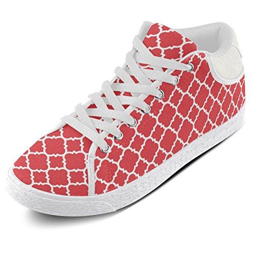 Artsadd Rosso Bianco Quadrifoglio Modello Classico Chukka Scarpe Di Tela Per Le Donne (model003)