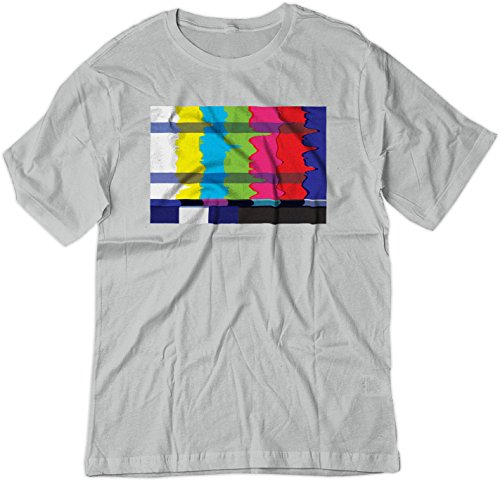 BSW Youth No Channel Color Bars Vintage Off-Air TV Shirt XL Silver