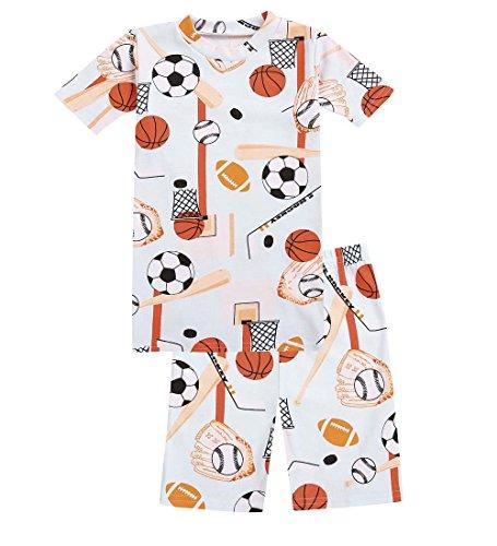 CWDKids Children's Cotton Short Pajamas - Sports, Size 14 (Hockey Pjs For Boys)