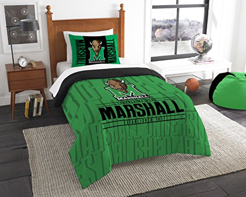 The Northwest Company Officially Licensed NCAA Marshall Thundering Herd Modern Take Twin Comforter and ()