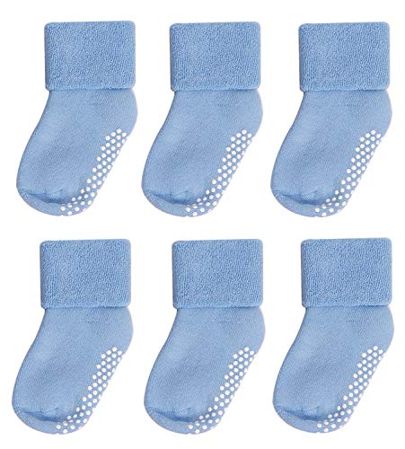 Toddler Socks with Grips,Mossio 6 Pack Fashion Non Slip Seamless Socks 0-12 Months Blue]()