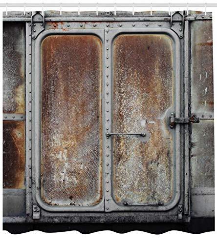 ABAKUHAUS Industrial Cortina de Baño, Ferrocarril Vintage Puerta ...