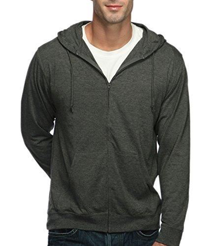 Cottonhood Long Sleeve T-Shirt Zip Hoodie (Medium, Charcoal Heather)