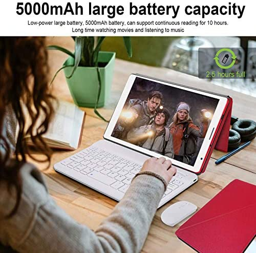 2 in 1 Tablet with Keyboard Mouse, Android 10.0 Tablets 3GB RAM 32GB ROM 128GB Extended, 4 Core 1.6Ghz CPU, Dual Camera, 8 Inch WiFi Tablet PC (Red)