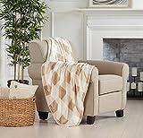 Great Bay Home Oversized Throw Blanket. Ultra Soft Velvet Plush Buffalo Check Design. Flannel Fleece All Season Lightwight Throw (Taupe)