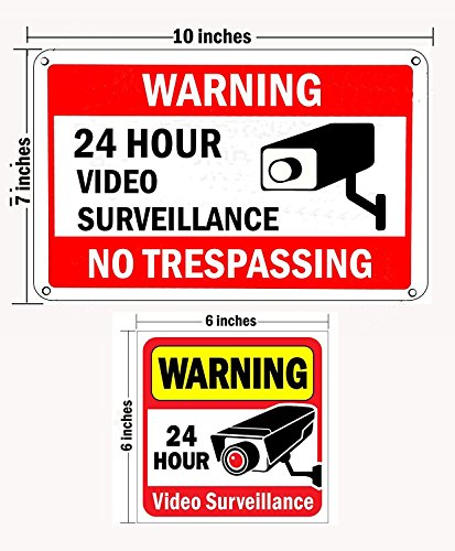 WISLIFE Video Surveillance Sign Set, 2 (10'' X 7'') Aluminum Warning Signs & 6 (6''X6'') Window Stickers, Video Security Signs by WISLIFE (Image #1)