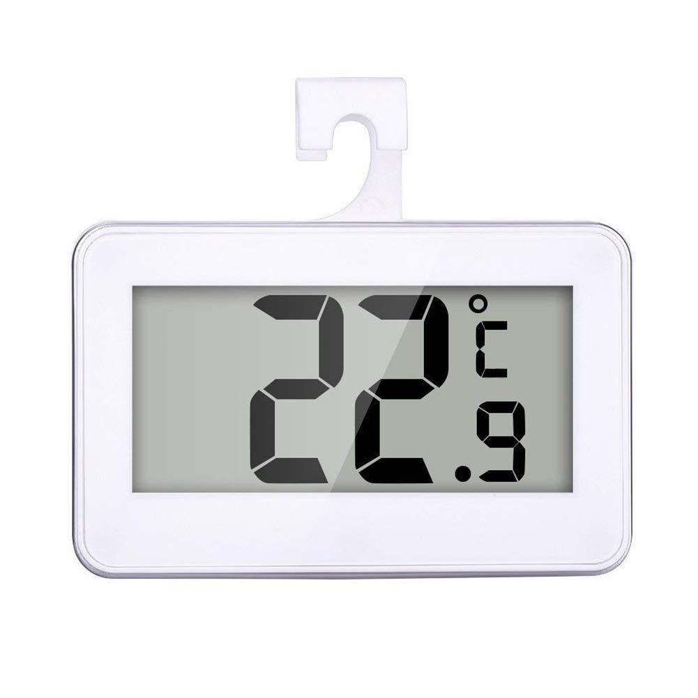 Ohne batterie 1 ST/ÜCK K/ühlschrank Thermometer Digitale Wasserdichte Wireless K/ühlschrank Gefrierschrank Temperaturmonitor mit Haken LCD Display f/ür Indoor Outdoor Wei/ß