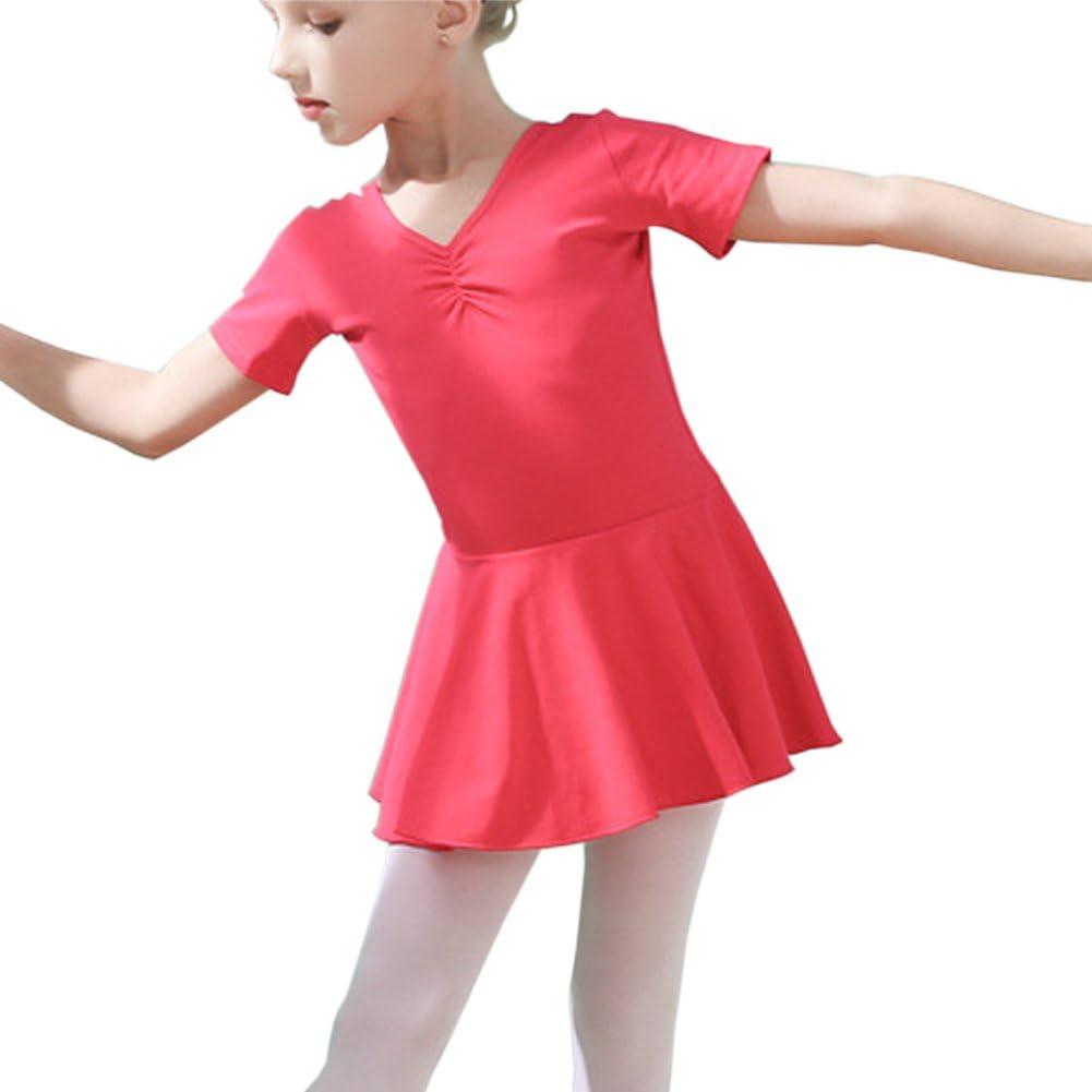 Lisianthus002 Abito da Danza Balletto per Bambine con Maniche Corte e Cavallo Aperto